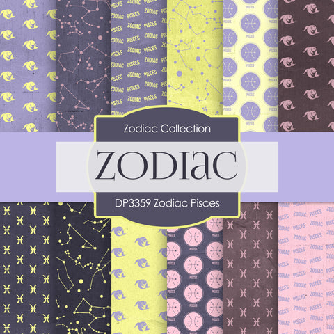 Zodiac Pisces Digital Paper DP3359