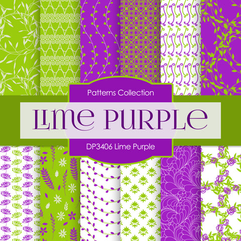 Lime Purple Digital Paper DP3406