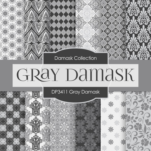 Gray Damask Digital Paper DP3411