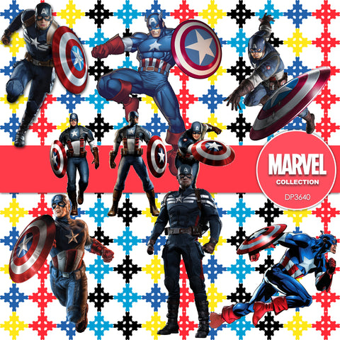 Captain America Digital Paper DP3640 - Digital Paper Shop - 1