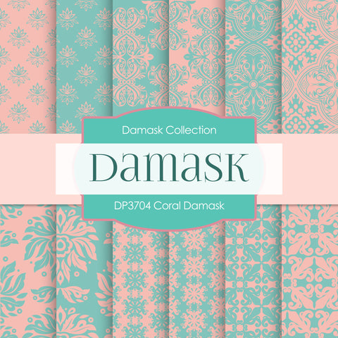 Coral Damask Digital Paper DP3704 - Digital Paper Shop - 1