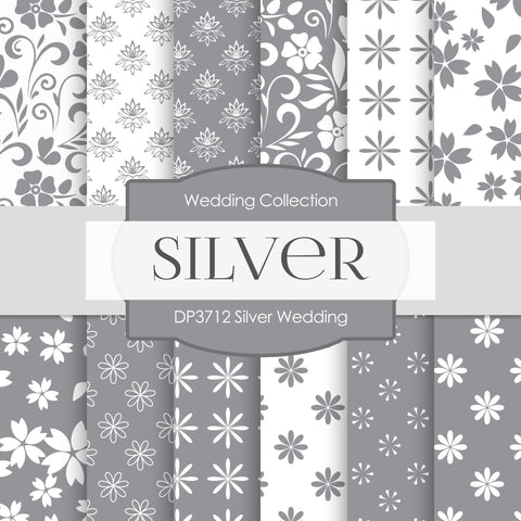 Silver Wedding Digital Paper DP3712A - Digital Paper Shop - 1