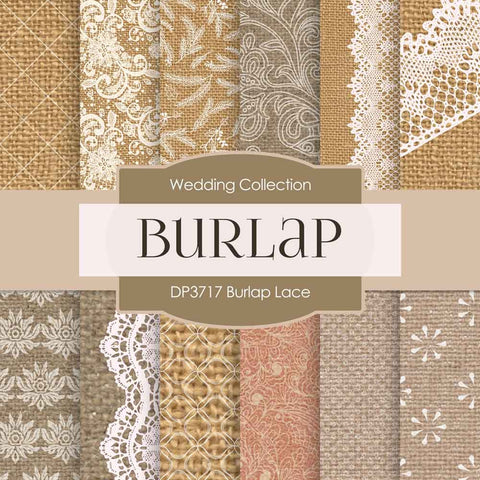 Burlap Lace Digital Paper DP3717 - Digital Paper Shop - 1