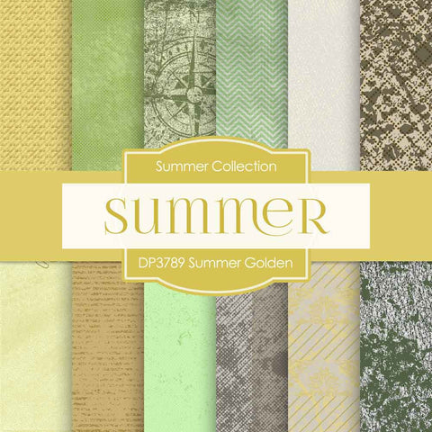 Summer Golden Digital Paper DP3789 - Digital Paper Shop - 1
