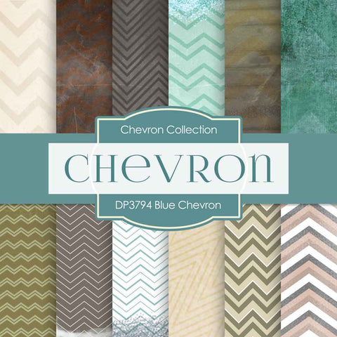 Blue Chevron Digital Paper DP3794 - Digital Paper Shop - 1