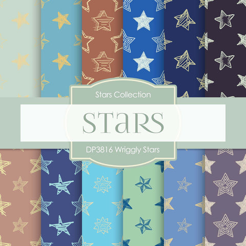 Wriggly Stars Digital Paper DP3816 - Digital Paper Shop - 1