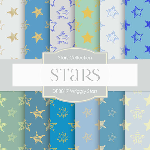 Wriggly Stars Digital Paper DP3817 - Digital Paper Shop - 1