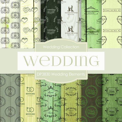 Wedding Elements Digital Paper DP3830 - Digital Paper Shop - 1