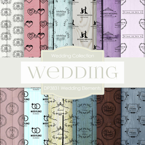 Wedding Elements Digital Paper DP3831 - Digital Paper Shop - 1