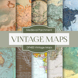 Vintage Maps Digital Paper DP400 - Digital Paper Shop - 1