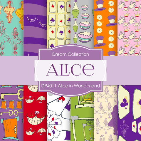 Alice In Wonderland Digital Paper DP4011 - Digital Paper Shop - 1