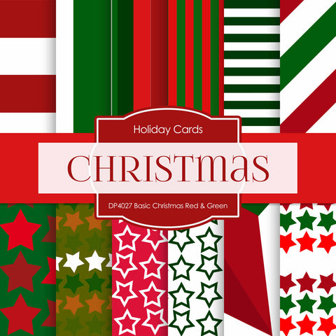 Basic Christmas Red Green Digital Paper DP4027 - Digital Paper Shop - 1