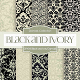 Black and Ivory Damask Digital Paper DP4040 - Digital Paper Shop - 1