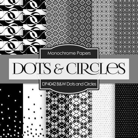 Black and White Dots and Circles Digital Paper DP4042 - Digital Paper Shop - 1