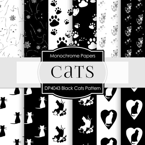 Black Cats Pattern Digital Paper DP4043 - Digital Paper Shop - 1