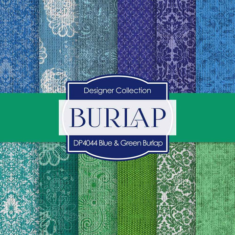 Blue Green Burlap Digital Paper DP4044 - Digital Paper Shop - 1