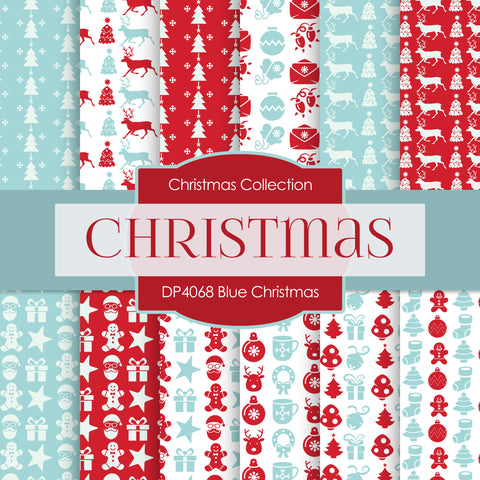 Blue Christmas Digital Paper DP4068A - Digital Paper Shop - 1