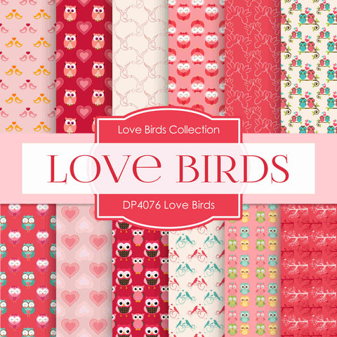 Love Birds Digital Paper DP4076A - Digital Paper Shop - 1