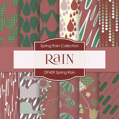 Spring Rain Digital Paper DP409 - Digital Paper Shop - 1