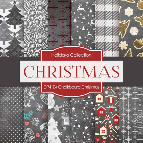 Chalkboard Christmas Digital Paper DP4104 - Digital Paper Shop - 1