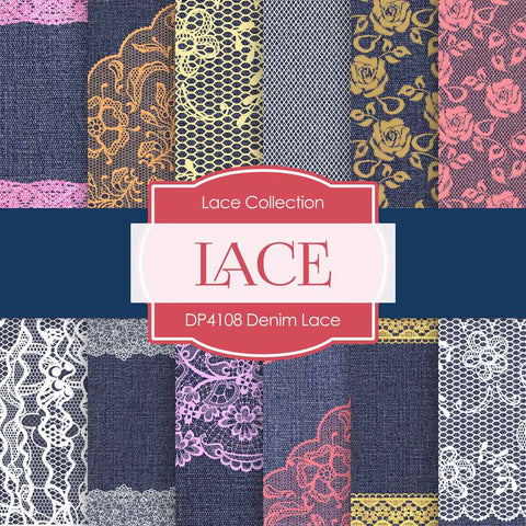 Denim Lace Digital Paper DP4108 - Digital Paper Shop - 1