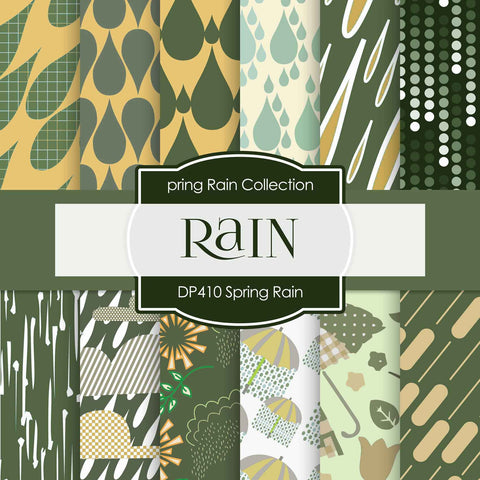 Spring Rain Digital Paper DP410 - Digital Paper Shop - 1