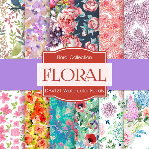 Watercolor Florals Digital Paper DP4121 - Digital Paper Shop - 1