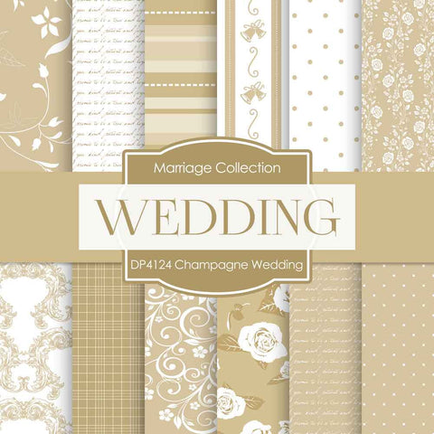Champagne Wedding Digital Paper DP4124 - Digital Paper Shop - 1