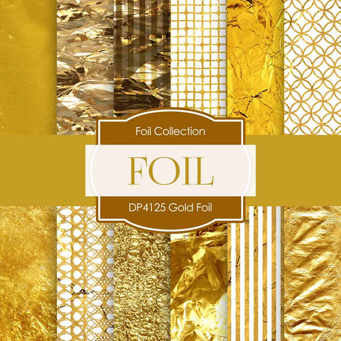 Gold Foil Digital Paper DP4125 - Digital Paper Shop - 1