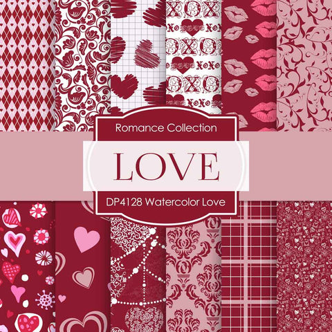 Watercolor Love Digital Paper DP4128 - Digital Paper Shop - 1