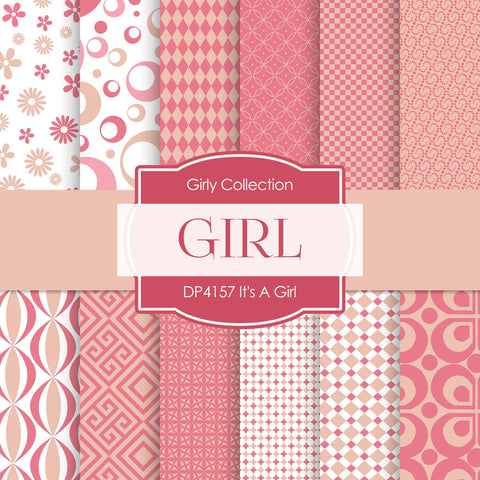 It's A Girl Digital Paper DP4157 - Digital Paper Shop - 1