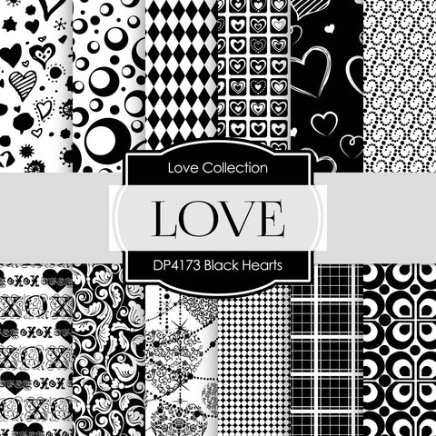 Black Hearts Digital Paper DP4173 - Digital Paper Shop - 1