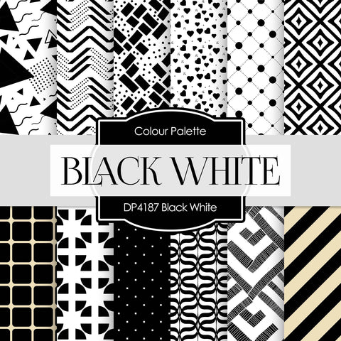 Black White Digital Paper DP4187 - Digital Paper Shop - 1