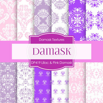 Lilac & Pink Damask Digital Paper DP419 - Digital Paper Shop - 1