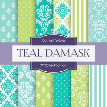 Teal Damask Digital Paper DP420 - Digital Paper Shop - 1