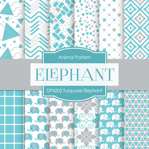 Turquoise Elephant Digital Paper DP4202A