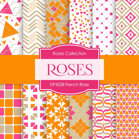 French Rose Digital Paper DP4258 - Digital Paper Shop - 1