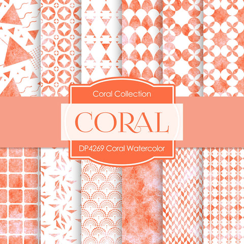 Coral Watercolor Digital Paper DP4269 - Digital Paper Shop - 1
