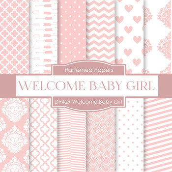 Welcome Baby Girl Digital Paper DP429 - Digital Paper Shop - 1