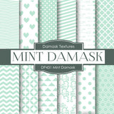 Minty Damask Digital Paper DP431 - Digital Paper Shop - 1