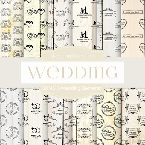Wedding Elements Digital Paper DP4313 - Digital Paper Shop - 1