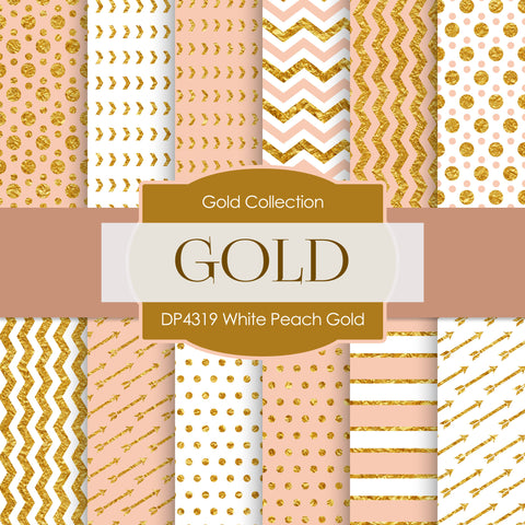 White Peach Gold Digital Paper DP4319