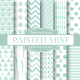 Painted Mint Digital Paper DP432 - Digital Paper Shop - 1
