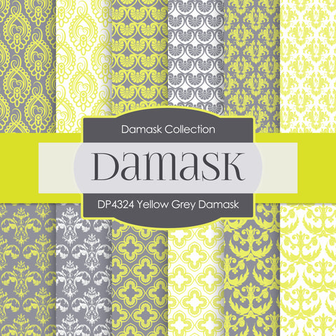 Yellow Grey Damask Digital Paper DP4324