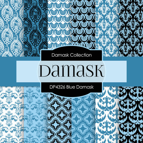 Blue Damask Digital Paper DP4326