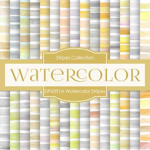 Watercolor Stripes Digital Paper DP4391A