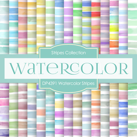 Watercolor Stripes Digital Paper DP4391