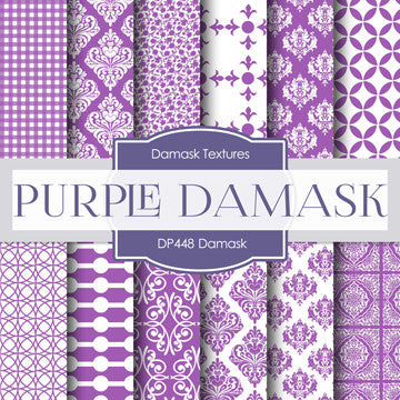 Purple Damask Digital Paper DP448 - Digital Paper Shop - 1
