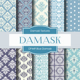Blue Damask Digital Paper DP449 - Digital Paper Shop - 1