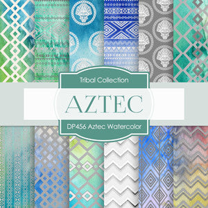 Aztec Watercolor Digital Paper DP456 - Digital Paper Shop - 1